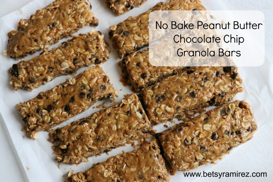 No Bake Peanut Butter Chocolate Chip Granola Bars - Betsy Ramirez